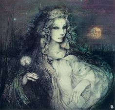 """Rhiannon is a lunar Welsh goddess of inspiration. Her name means """"Great Queen,"""" and serves as a muse for poets, artists, and royalty. She is also a goddess of transformation, easing the dead into the afterlife and carries their souls upon her white horse. She is a shapeshifter, and will often appear as a bird, animal, or through a song. Artwork cred: Susan Seddon-Boulet"""