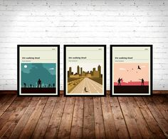 Set of Walking Dead Posters, TV Print, The Walking Dead Poster, Television.  3 Posters.  Sizes available: A3 (11.7 x 16.5 in) A2 (16.5 x 23.4 in) A1