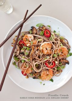 Garlic Soba Noodles with Grilled Shrimp. Looks so tasty. (recipe at bottom of page)