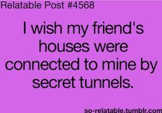I wish my friend's houses were connected to mine by secret tunnels.