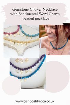 Colour and positivity in one gemstone choker necklace. The charms spell out a positive sentiment or maybe his and her initials. Gemstone Colors, Gemstone Beads, Charmed Spells, Four Leaf Clover Necklace, Jewelry Gifts, Jewellery, Lucky Ladies, Letter Charms, Blue Lace Agate