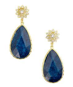 Amrita Singh lapis teardrop earrings