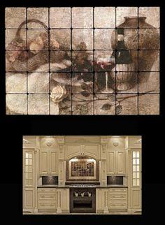 "Kitchen bathroom tile mural 20x28 4"" tumbled marble"