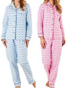 Ladies Slenderella Striped Pyjamas 100/% Cotton Button Top Trouser Bottoms PJ Set