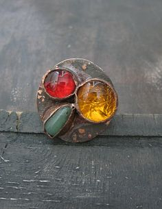 Copper Red , Yellow, Green Ring by Mary Bulanova