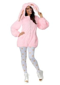 Hop to it and get this Women's Plus Size Fuzzy Pink Bunny Costume today. This Halloween you'll be warm, fluffy and sparkly in this adorable bunny outfit. Pink Bunny Costume, Easter Bunny Costume, Bunny Outfit, Easter Costumes, Halloween Costumes For Teens, Cute Costumes, Costumes For Women, Costume Ideas, Halloween Ideas