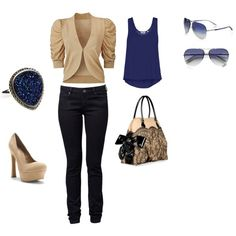Blue/Black/Creme, created by tbain209 on Polyvore