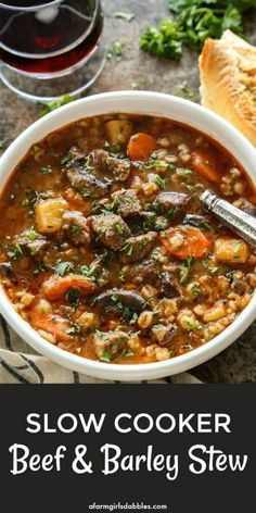 Slow Cooker Beef and Barley Stew from afarmgirlsdabbles. - Simple ingredients are left to mingle in the slow cooker, resulting in a rich and flavorful stew of tender beef and vegetables with barley. Beef Barley Stew Recipe, Beef Soup Recipes, Beef Soup Crockpot, Vegetable Beef Barley Soup, Beef Soups, Healthy Beef Stews, Recipes Dinner, Soup Crockpot Recipes, Soups And Stews