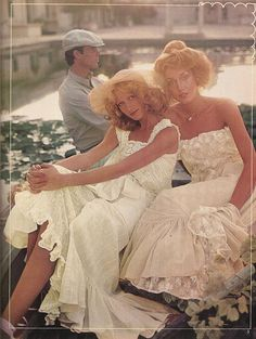 Jerry Hall, 1975. These look like the hugely popular Jessica McClintock Gunne Sax dresses.