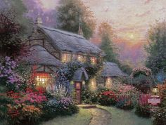 Puzzle Thomas Kincaid Juliannes Cottage 1000 piece coated ready for frame. Cute Cottage, Cottage Art, The Joy Of Painting, House Painting, Thomas Kinkade Art, Kinkade Paintings, Thomas Kincaid, Woodlands Cottage, Old Barns