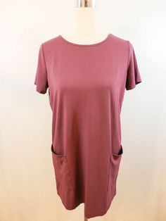 NWOT J. JILL Sz XS HIBISCUS SHORT SLEEVE LOOSE FIT LONG TOP/MINI DRESS #JJill #KnitlongTopMinidress #Casual