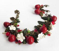 Cherry Berry cha cha charm Bracelet and earrings by PommeDeNeige