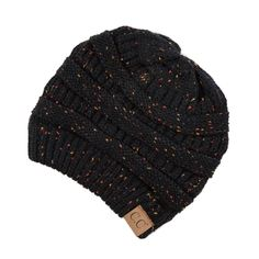 Black Knit Confetti Beanie, Hats for Winter, toboggan, Women's Hats, Boutique Clothing Ponytail Beanie, Black Beanie, Knit Beanie Hat, Beanies, Types Of Hats, Pink Hat, Black Knit, Graphic, Hats For Women