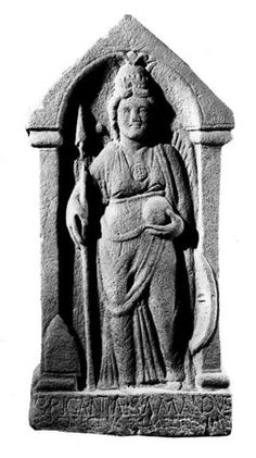 A sculpture from the Roman Fort at Birrens in This is the native goddess of the a tribe in northern & southern Scotland. The inscription reads 'Sacred to Brigantia: Amandus, the engineer, fulfilled the order by command' Celtic Goddess, Celtic Mythology, Rome, Roman Gods, Triple Goddess, Gods And Goddesses, Ancient Goddesses, National Museum, Deities