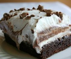 "Brownie refrigerator cake - super on a hot summer day. Just a few notes: I cooked the brownies for 32 minutes with a convection oven. It took a whole day in the fridge for my brownies to get ""regrigerated"" but once they were super cold, OH MY GOSH they were amazing!"