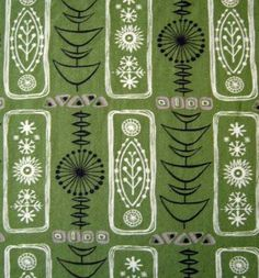 "atomic fabric, ""Homecraft"" range by Grafton, similar to Robert Stewart / Lucienne Day designsVery good vintage conditionThe repeat is x inchesCottonThis piece me. Design Textile, Design Floral, Textile Prints, Textile Patterns, Fabric Design, Print Patterns, Boho Pattern, Retro Pattern, Pattern Art"