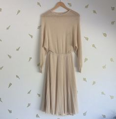 vintage 70s nina ricci dress / week end / beige knit by foxandrook