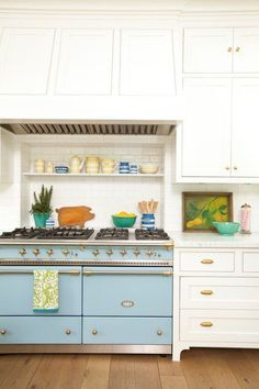 Sky Blue Oven/Stove Range in Colorful Kitchen