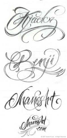 Tetování písmo - vzor 3