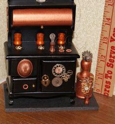 Dollhouse Steampunk Stove by MiniMyEye on Etsy, $60.00