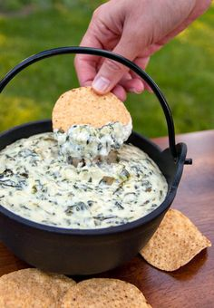 Spinach and Artichoke Dip-Remember if you have braces to be careful with chips-make into smaller bites or use warmed soft pita bread for the dip!
