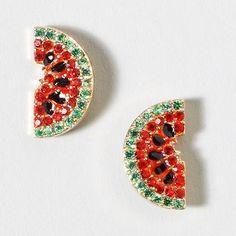 Watermelon Earrings from Claire's Claires Ear Piercing, Ear Piercings, Cute Earrings, Beautiful Earrings, Watermelon Outfit, Claire's Accessories, Body Jewelry Shop, Kawaii, Cute Jewelry