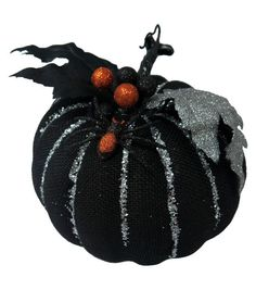 Pumpkin Boutique Medium Decorative Pumpkin-Black Burlap With Spidars
