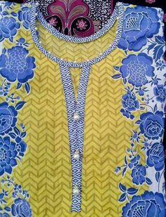 Best 12 Neck design – Lace around edge of placket – SkillOfKing. Salwar Neck Designs, Kurta Neck Design, Neck Designs For Suits, Sleeves Designs For Dresses, Neckline Designs, Kurta Designs Women, Dress Neck Designs, Sleeve Designs, Blouse Designs
