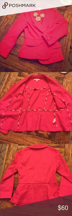Cabi bright pink blazer size 2 Adorable fitted bright pink Cabi blazer. Excellent condition. Fitted pleats in back. Length from shoulder is 23in bust is about 15in. True to a size 2 CAbi Jackets & Coats Blazers