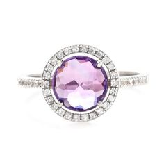 Suzanne Kalan amethyst ring with gorgeous white sapphire halo and band, at Greenwich Jewelers  $775