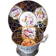 John Rose Coalport Cup & Saucer, Blue & Gold, c 1820