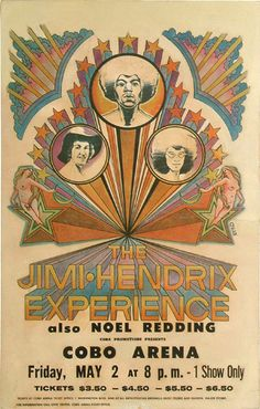 The Jimi Hendrix Experience on Friday, May 2, 1969 at the Cobo Arena in Detroit, Michigan.