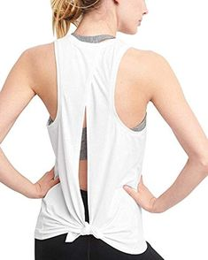 7203b3fb70a Mippo Women s Fashion 2019 Sexy Open Back Workout Tops Yoga Tank Tops  Muscle Shirts Activewear Exercise Tops Sleeveless Running Sport Gym Clothes  Gray XL
