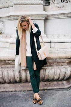 Damsel in Dior | Steve Madden Leopard Flats; Theory Pants; Theory Jaidyn Sweater; Cashmere Scarf; Balenciaga Coat; Saint Laurent Bag in Powder