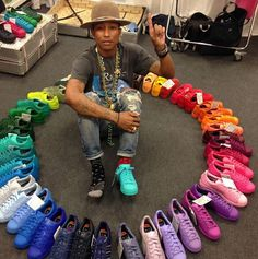 Pharrell in the adidas Supertstar Supercolor