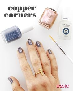 Can't pick between metallic or matte? Now you don't have to with 'copper corners'! Recreate this graphic essie nail art mani for a look that's simple yet elegant. Get the look using the following nail polishes: 'petal pushers' 'penny talk' and 'matte about you' top coat.