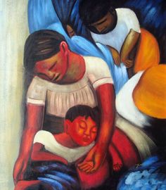 MEXICAN FAMILY DIEGO RIVERA RPERO OIL PAINTING  Mexico, Family, Mexican, Art
