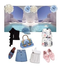 """""""Day 👉🏼 night outfit Santorini style ✈️💙"""" by millawonderland on Polyvore featuring Puma, Jeffrey Campbell, Aéropostale, Gucci, Mudd, Monsoon, Cara and Beaufille"""