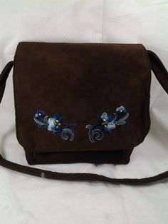 Brown Microsuede Shoulder Bag with blue flower applique Messenger Bag Handbag Purse Tone - pinned by pin4etsy.com