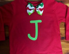 Toddler or Baby BoyChristmas Onesie or shirt with Bowtie and Personalized initial - long or short sleeve