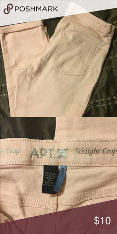 Light pink boyfriend jeans Great condition!   Pretty light pink.  Lots of stretch.  27 inch inseam unrolled Apt. 9 Jeans Boyfriend