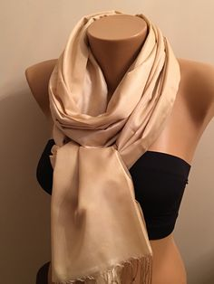 A personal favorite from my Etsy shop https://www.etsy.com/listing/259617517/new-cream-glossy-light-scarfcream-shawl