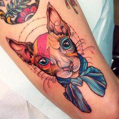 David Bowie cat tattoo - Katie Shocrylas, at Adrenaline VanCity in Vancouver