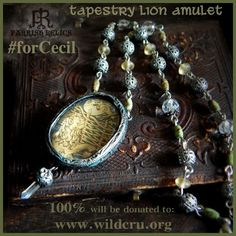 For Cecil. Charity Donation ~ Tapestry Lion ~ Pictorial Necklace with Crystal Amulet