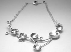 Hammered silver branches necklace