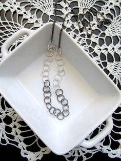 Silver Gunmetal Color Block Long Necklace - Mixed Metal Single Strand Simple Hoops Necklace by KatyaValera