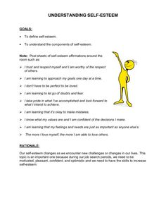 With teens self esteem worksheets