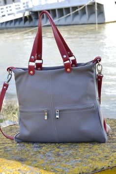 GRAY LEATHER HANDBAG Leather Purse Leather Shoulder by CORYSBAGS