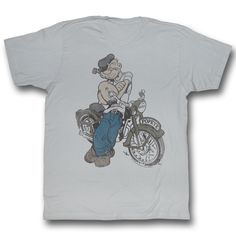Vintage Motorcycles American Classics Apparel Popeye Cycle Short Sleeve Crew Neck Mens T-Shirts - American Classics Apparel Popeye Cycle Mens T-Shirts Cool Shirts, Tee Shirts, Silver T Shirts, Popeye The Sailor Man, Cycling T Shirts, Classic Cartoons, Mens Tees, T Shirts For Women, Crew Neck