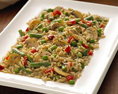 Mushroom Risotto with Roasted Red Peppers & Peas #BirdsEye #meatlessmonday